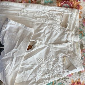 Anthropologie white jeans embroidered